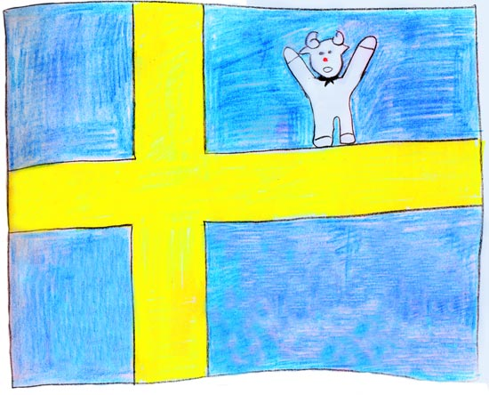 Sweden Flag with Ramses