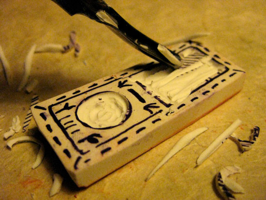 carving a rubber eraser stamp