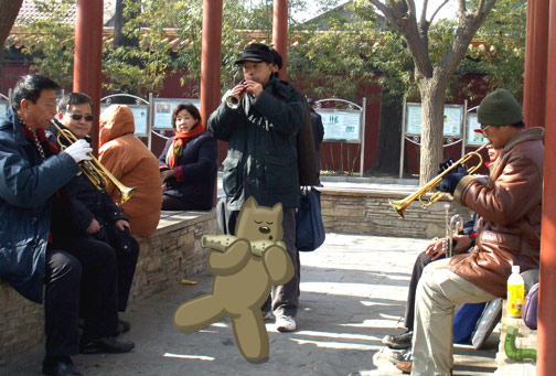 F.W. Plays Music in Jinshan Park