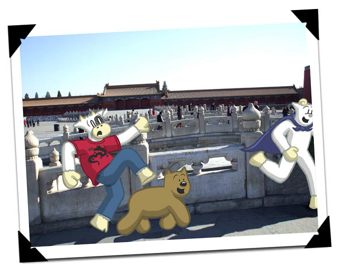 MCFC gang horsing around in the Forbidden City