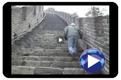 Ryan going up steps at Great Wall