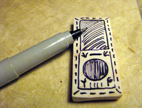 drawn stamp image on eraser